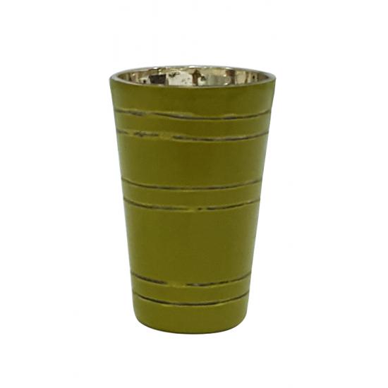 İntaglio Yeşil Cam Mumluk
