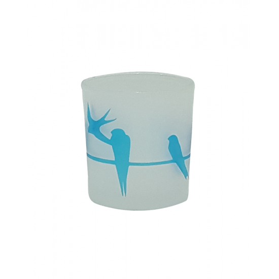 Mavi Kırlangıç Cam Mumluk